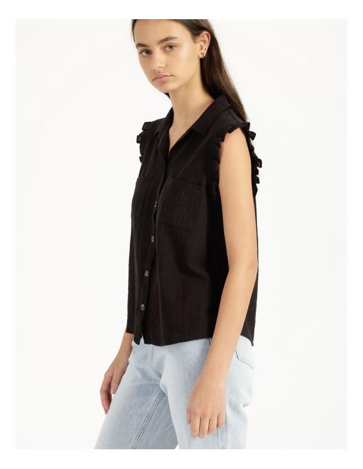 Ruffle Sleeve Tie Front Shirt Black image 3