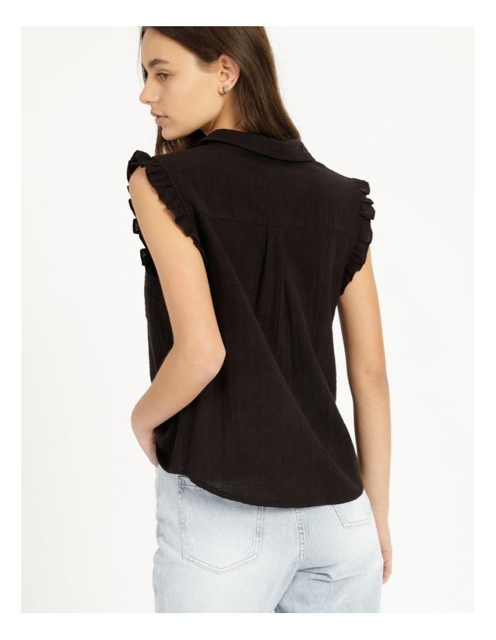Ruffle Sleeve Tie Front Shirt Black image 4