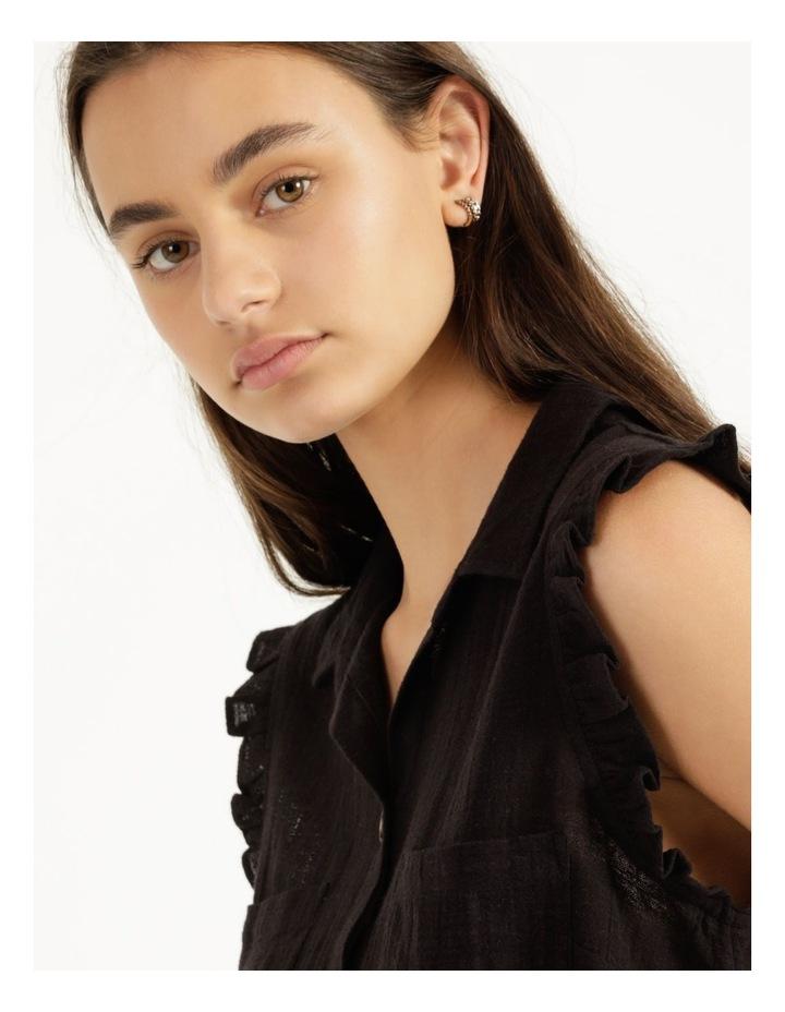 Ruffle Sleeve Tie Front Shirt Black image 5