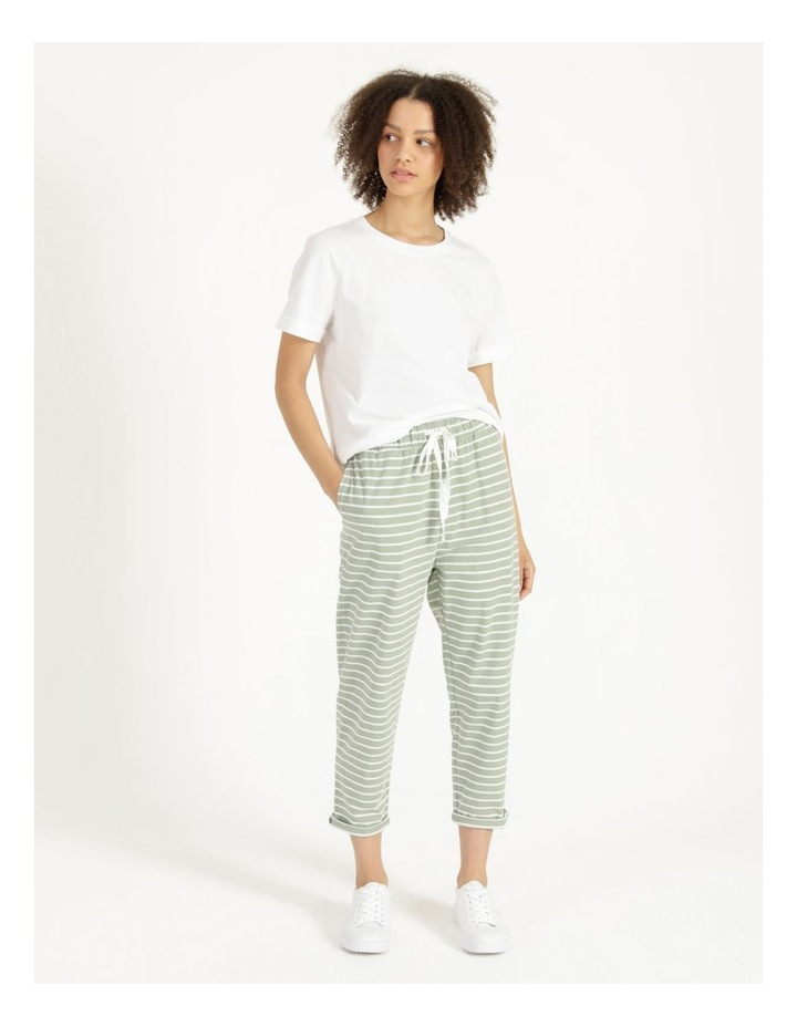 Stripe Jersey Relaxed Slim Tapered Track Pants image 1