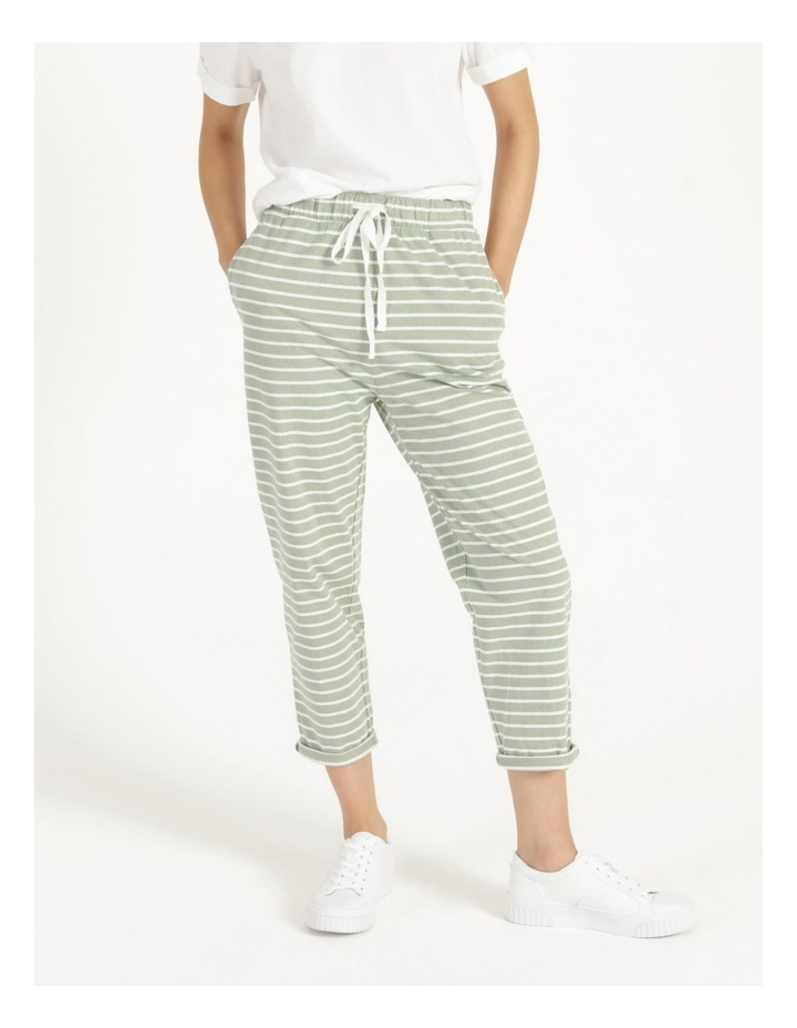Stripe Jersey Relaxed Slim Tapered Track Pants image 2