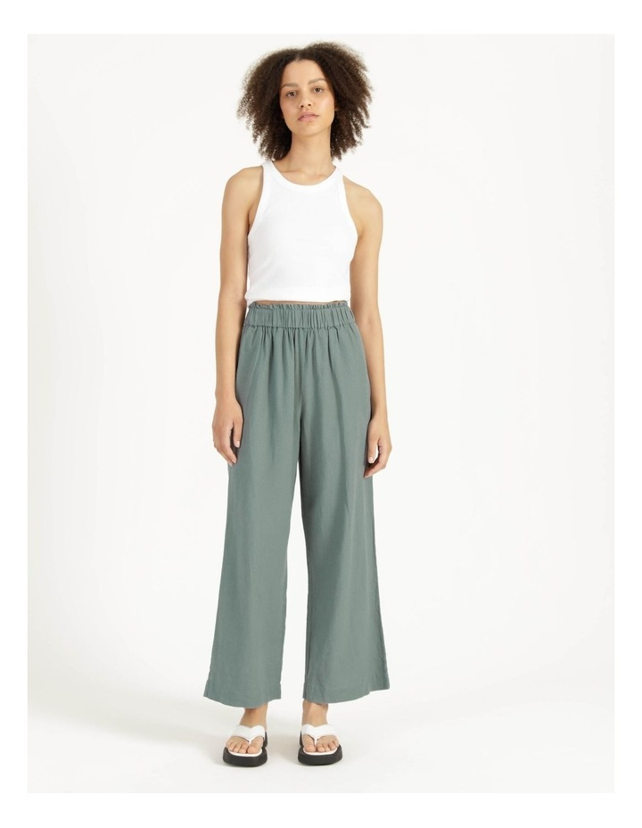 Paperbag Wide Leg Linen Pant Stormy Sea image 1