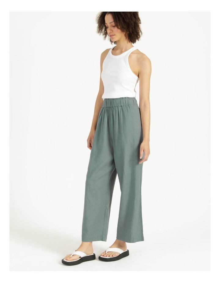 Paperbag Wide Leg Linen Pant Stormy Sea image 3