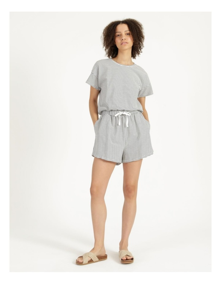 Stripe Jersey Relaxed Shorts White/Charcoal Stripes image 1