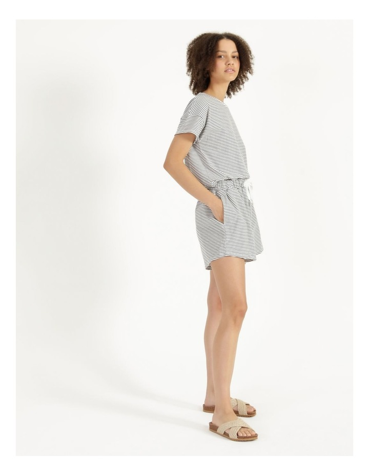 Stripe Jersey Relaxed Shorts White/Charcoal Stripes image 3