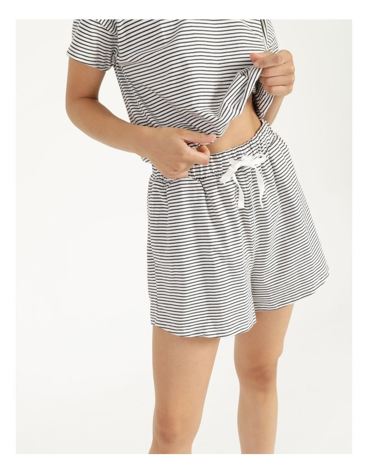 Stripe Jersey Relaxed Shorts White/Charcoal Stripes image 6