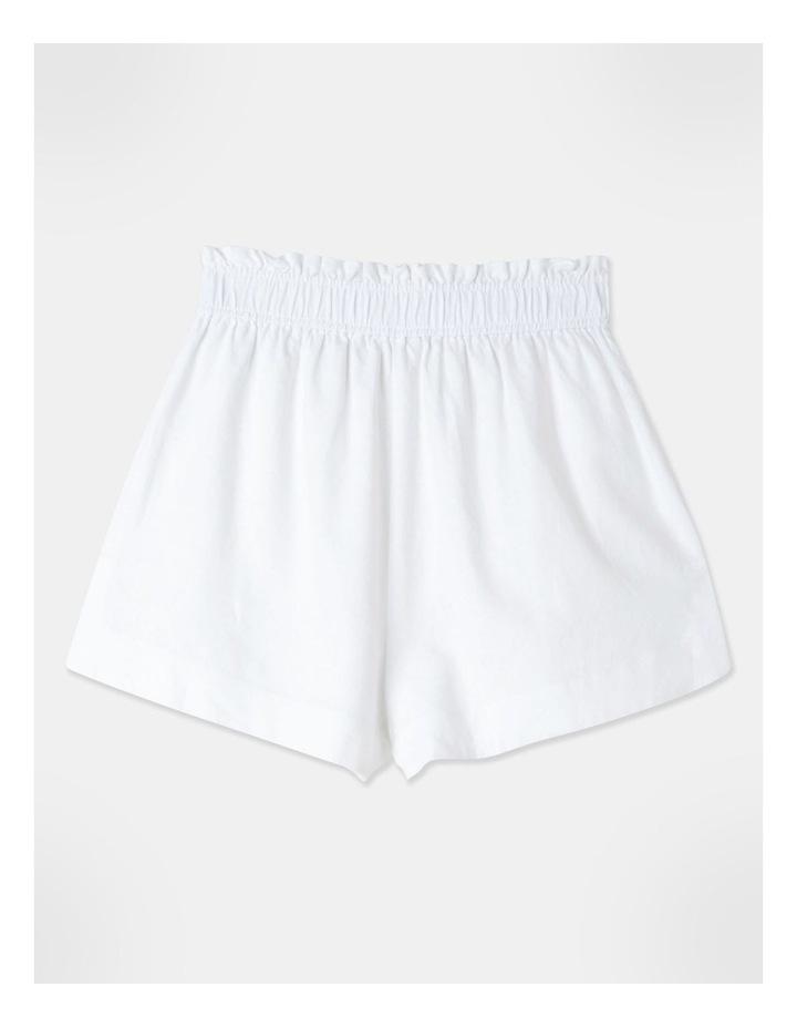Linen Blend Shorts White image 3