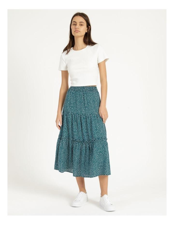 Midi Tiered White/Blue Floral Midi Skirt image 1