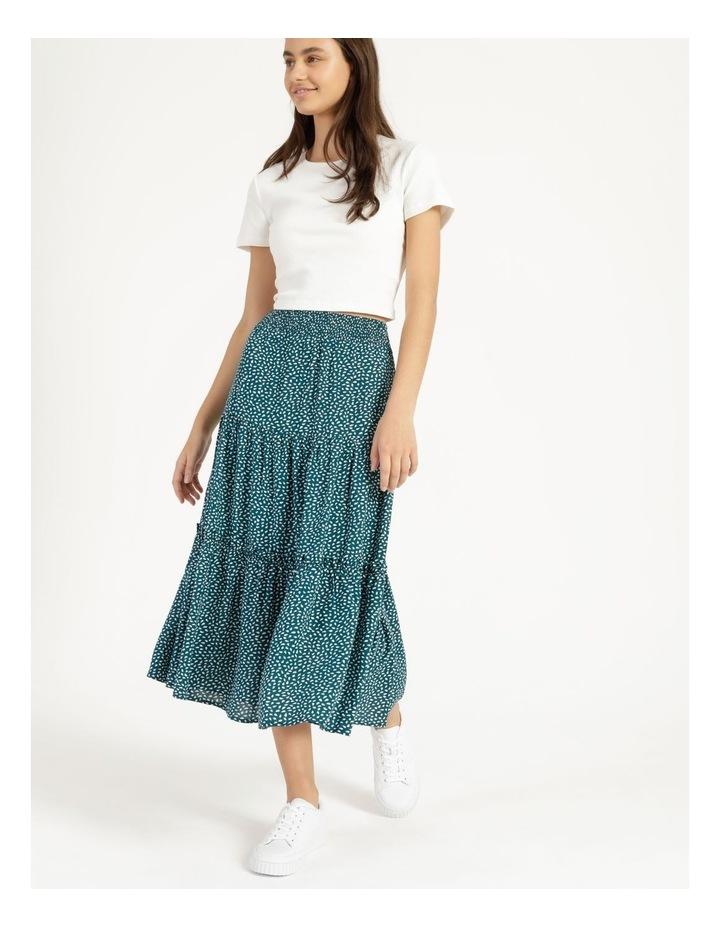 Midi Tiered White/Blue Floral Midi Skirt image 2