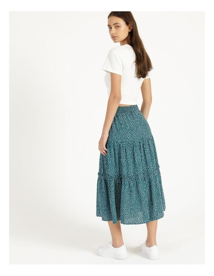 Midi Tiered White/Blue Floral Midi Skirt image 3