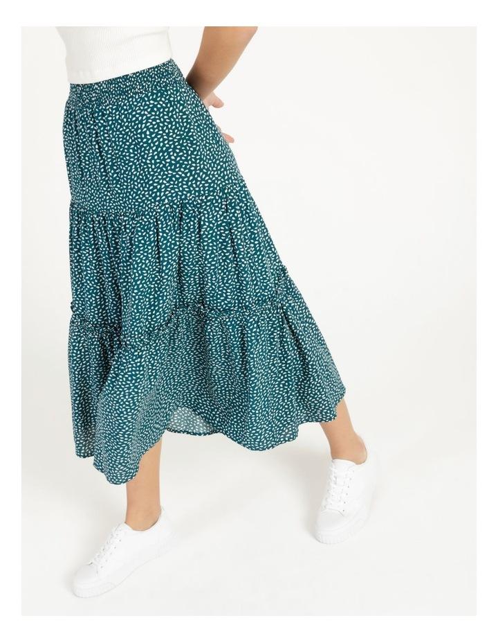 Midi Tiered White/Blue Floral Midi Skirt image 4