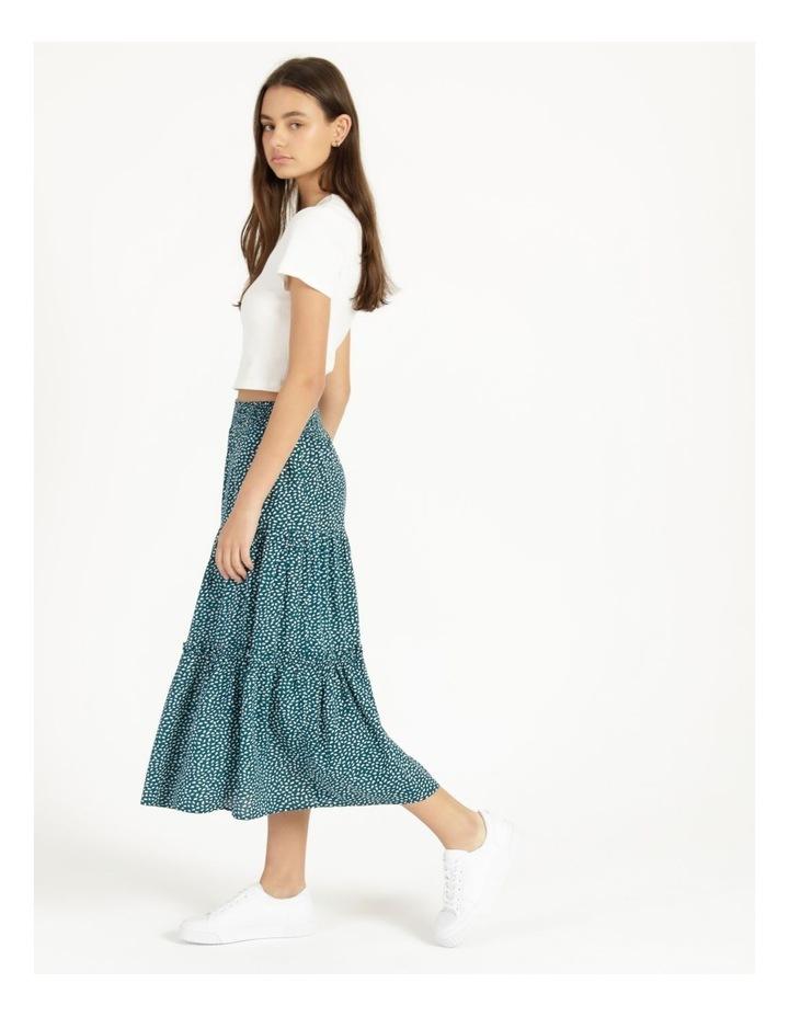Midi Tiered White/Blue Floral Midi Skirt image 5