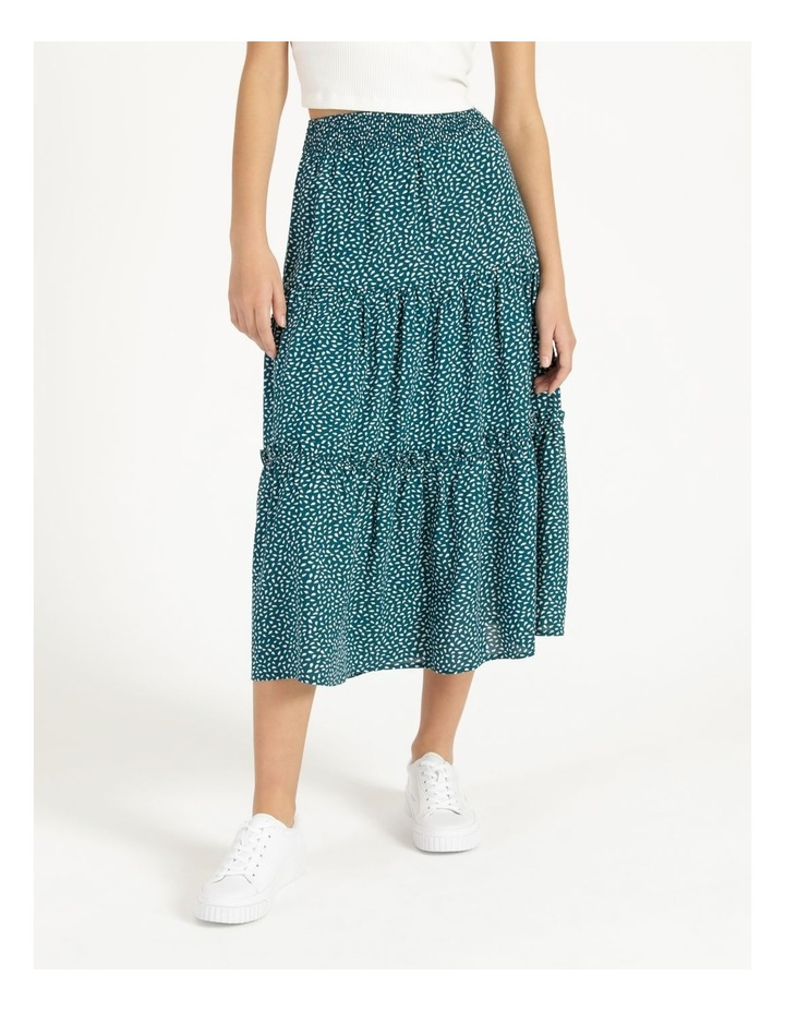 Midi Tiered White/Blue Floral Midi Skirt image 6