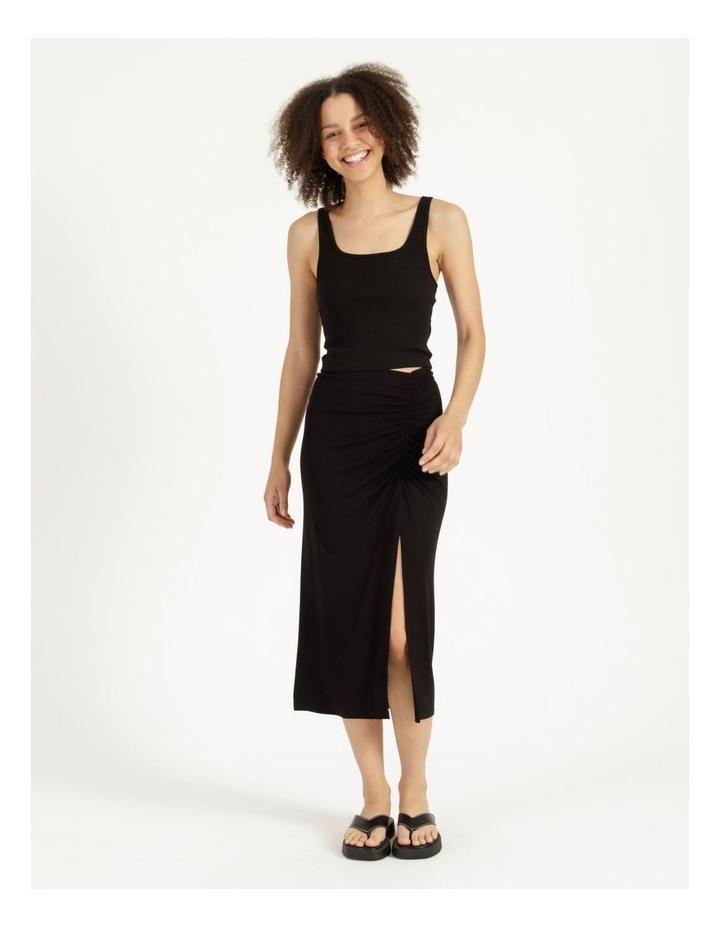 Ruched Jersey Midi Skirt Black image 1