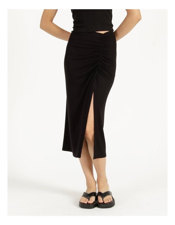 Ruched Jersey Midi Skirt Black image 2