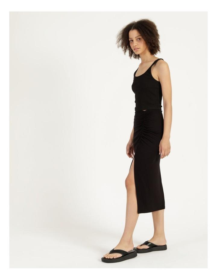 Ruched Jersey Midi Skirt Black image 3