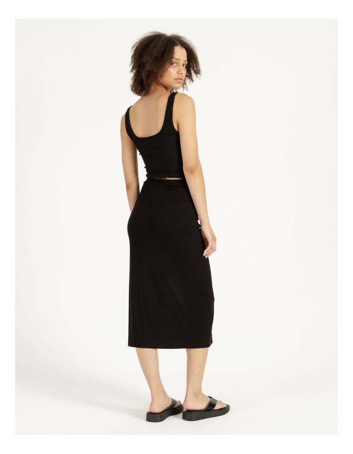 Ruched Jersey Midi Skirt Black image 4