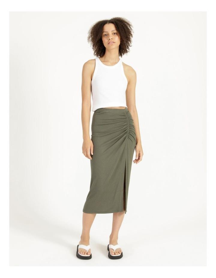 Ruched Jersey Sage Midi Skirt image 1