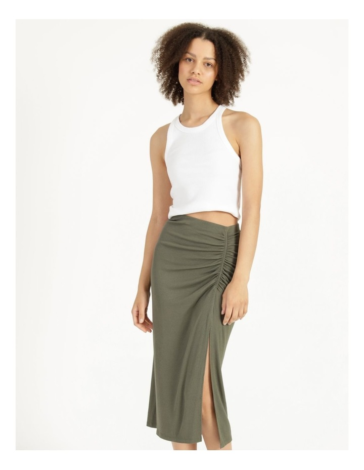 Ruched Jersey Sage Midi Skirt image 2