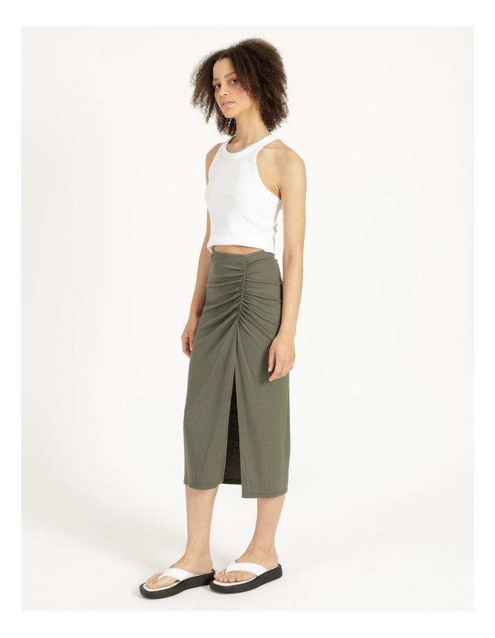 Ruched Jersey Sage Midi Skirt image 3