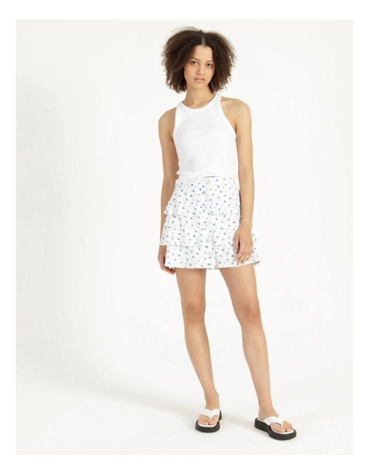 Tiered Button Front White Mini Skirt image 1
