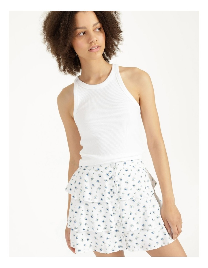 Tiered Button Front White Mini Skirt image 3