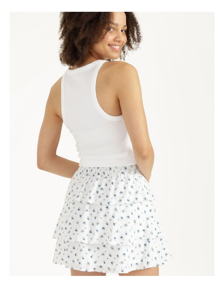 Tiered Button Front White Mini Skirt image 4