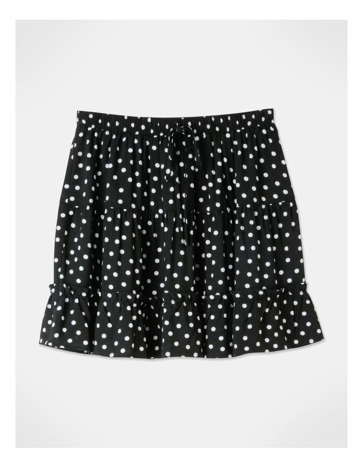 Ruffle Detail Mini Skirt - Black/White Spot Print image 1
