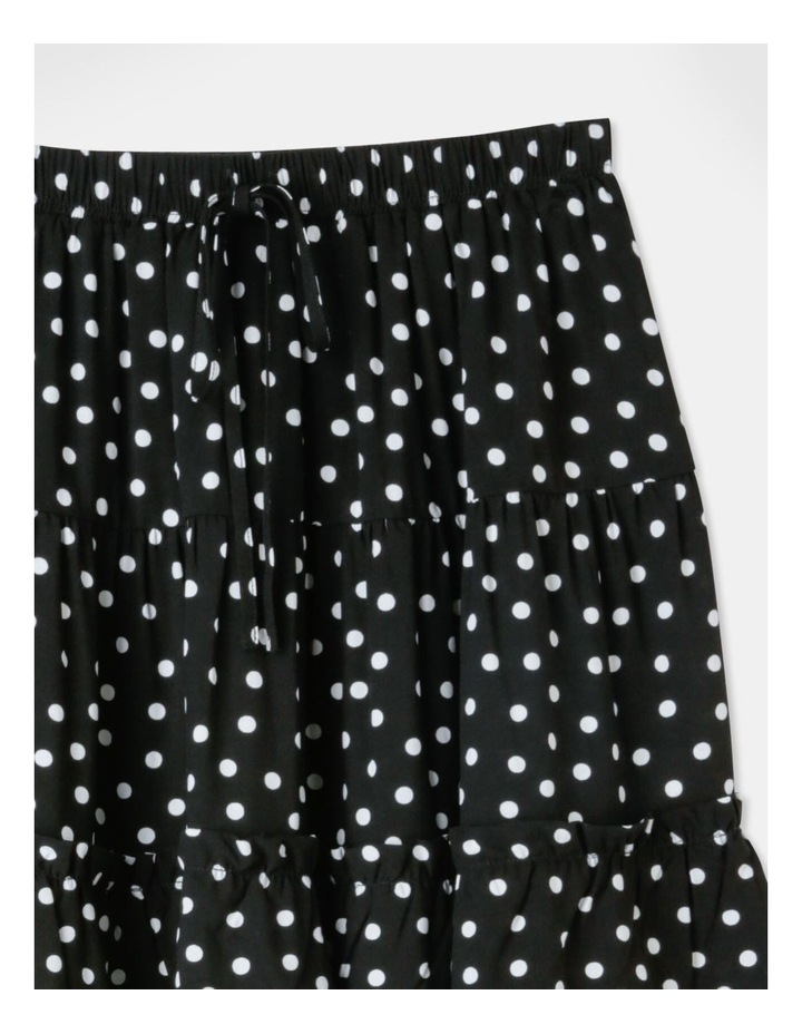 Ruffle Detail Mini Skirt - Black/White Spot Print image 2