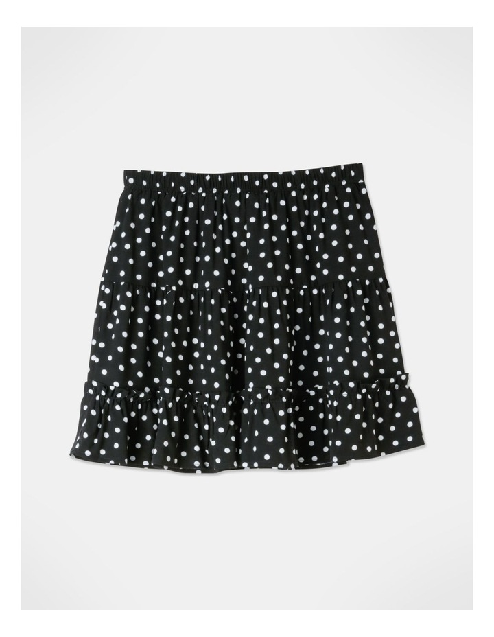 Ruffle Detail Mini Skirt - Black/White Spot Print image 3