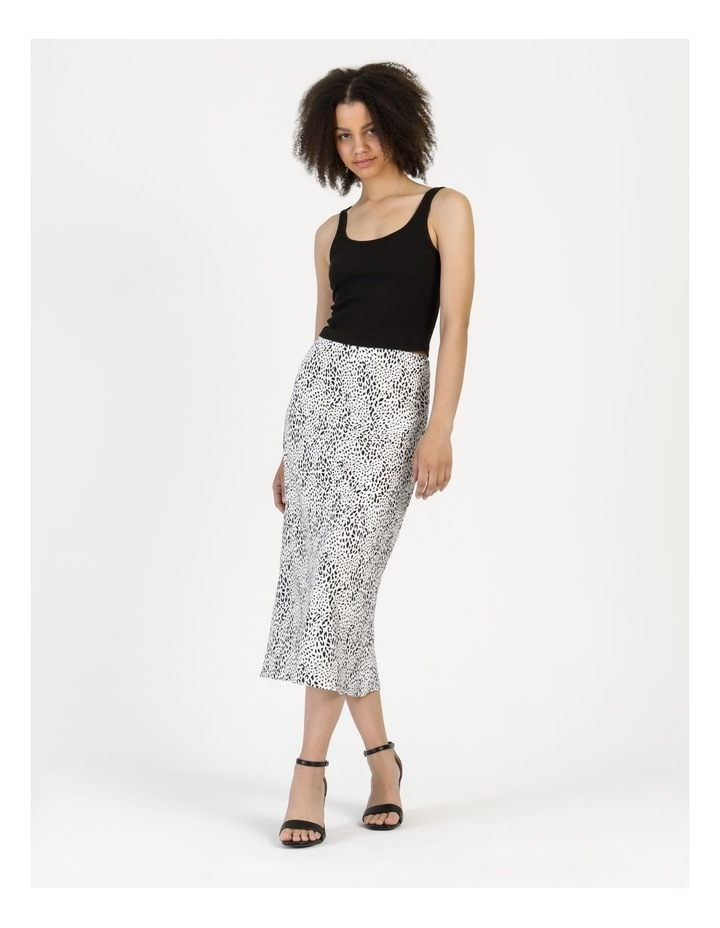 Side Split Midi Skirt White/Black Animal image 1