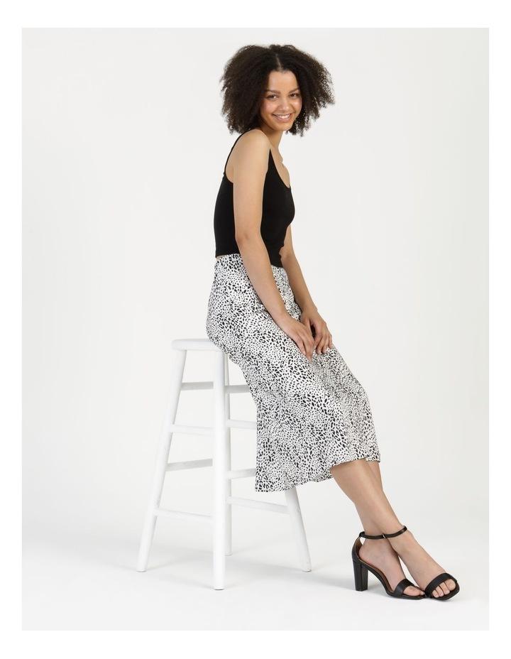 Side Split Midi Skirt White/Black Animal image 2