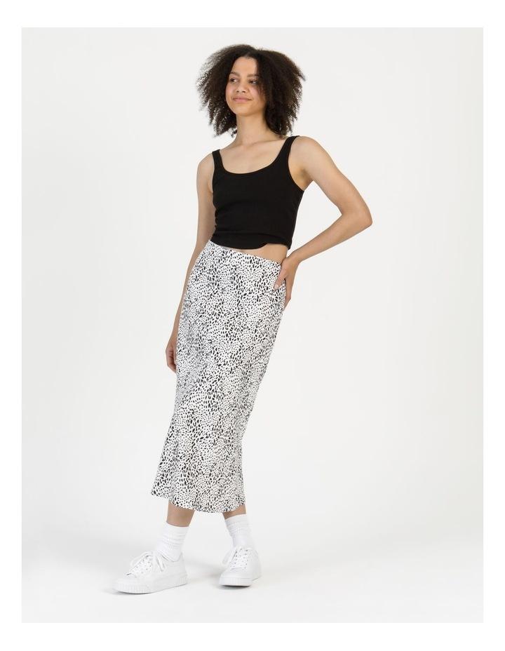 Side Split Midi Skirt White/Black Animal image 3