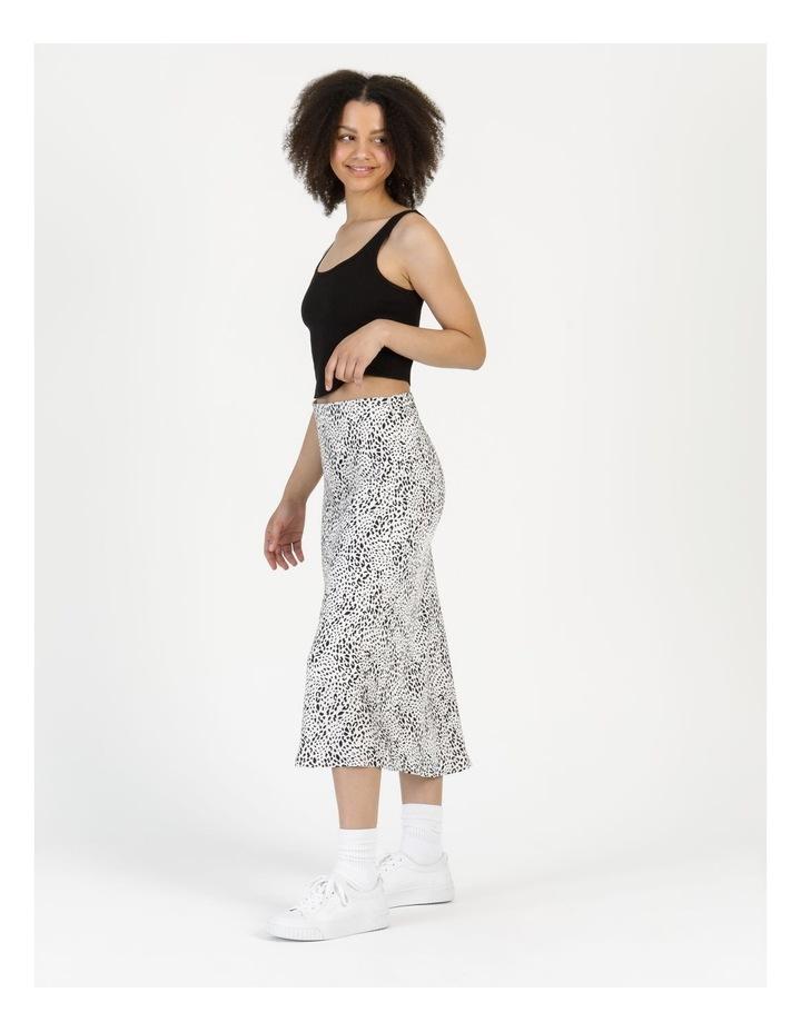 Side Split Midi Skirt White/Black Animal image 4