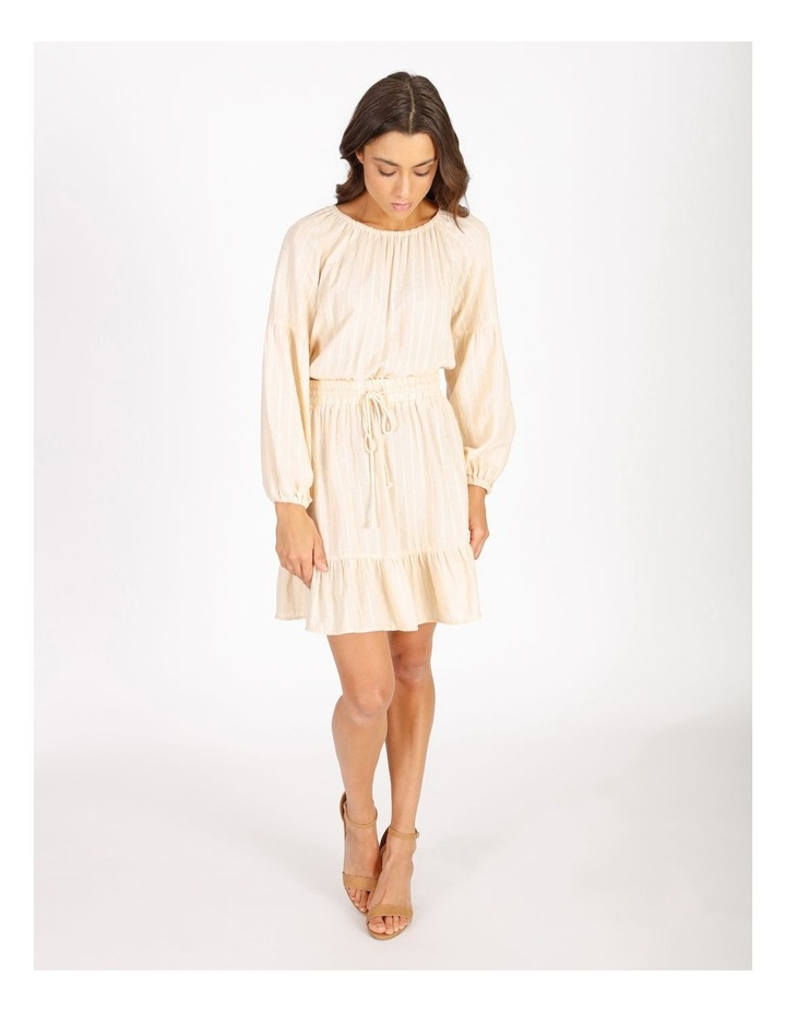 Textured Mini Stripe Dress With Ruffle Hem image 1