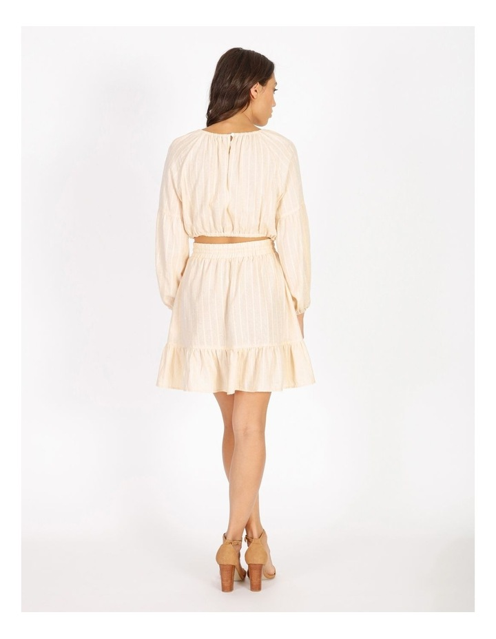 Textured Mini Stripe Dress With Ruffle Hem image 3