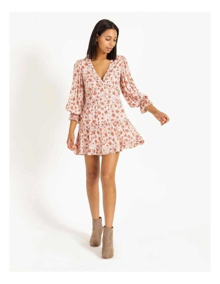 Ruffled Trim Blouson Sleeve Dress image 1