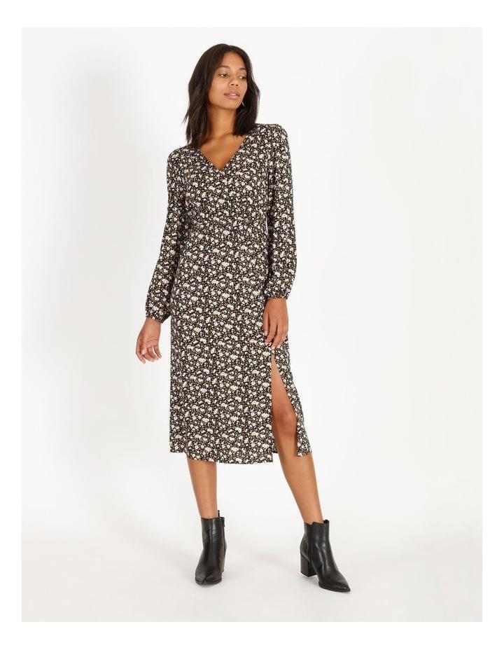 Vee Neck Long Sleeve Side Split Midi Dress image 1