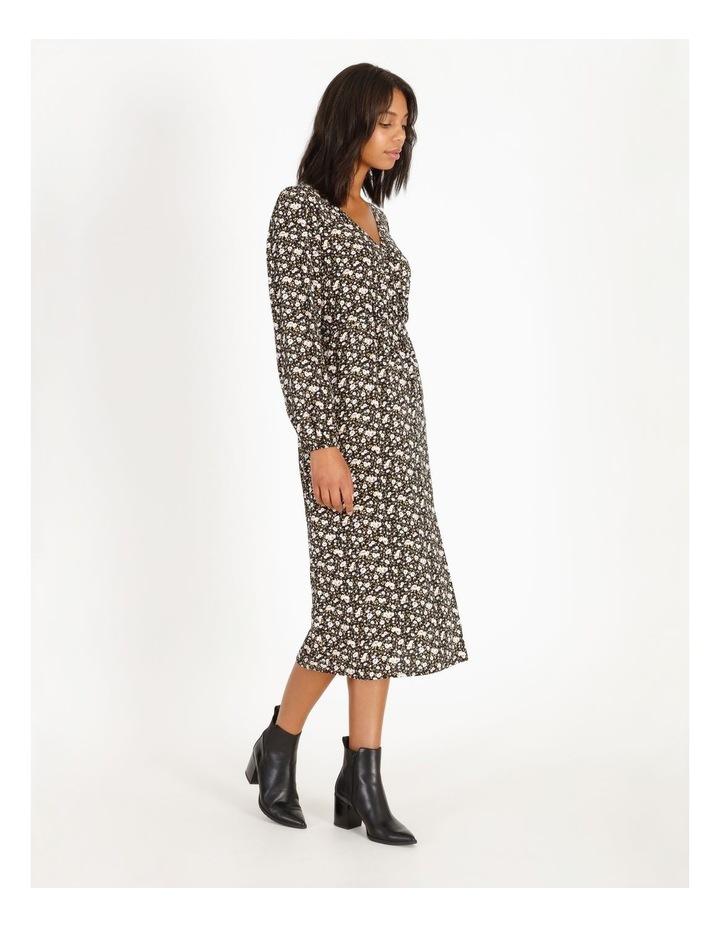 Vee Neck Long Sleeve Side Split Midi Dress image 2
