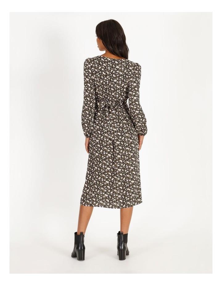 Vee Neck Long Sleeve Side Split Midi Dress image 3