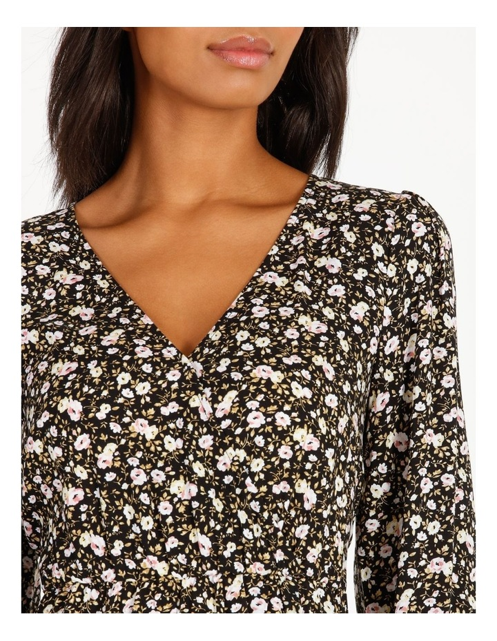 Vee Neck Long Sleeve Side Split Midi Dress image 4