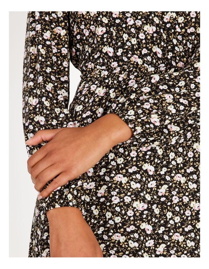 Vee Neck Long Sleeve Side Split Midi Dress image 5