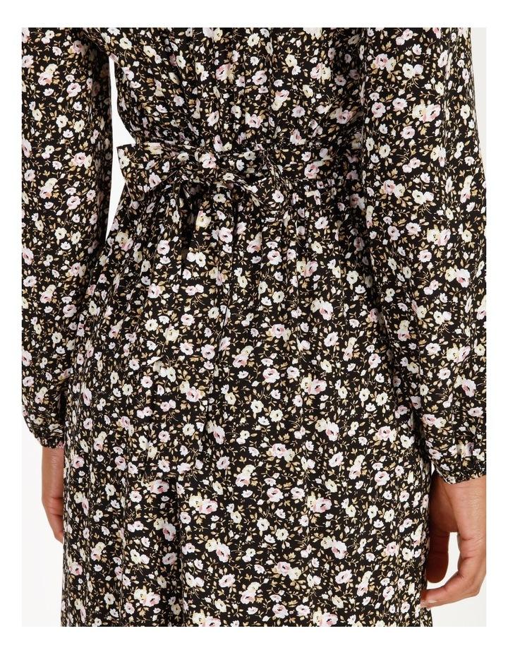 Vee Neck Long Sleeve Side Split Midi Dress image 6