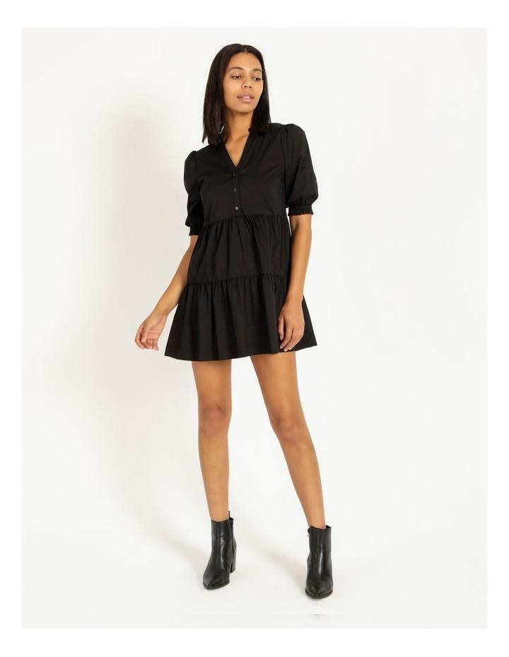 3/4 Sleeve Tiered Shirt Dress image 1