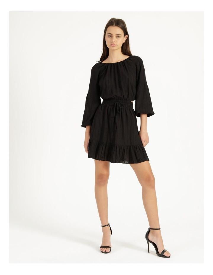Self Stripe Ruffle Hem Dress Black image 1