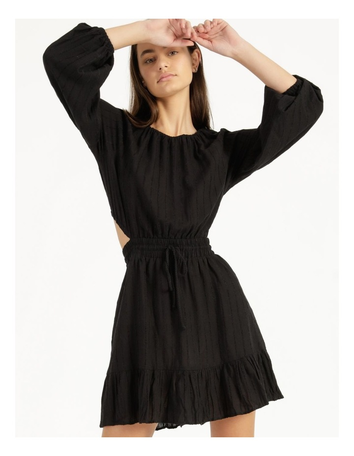 Self Stripe Ruffle Hem Dress Black image 2