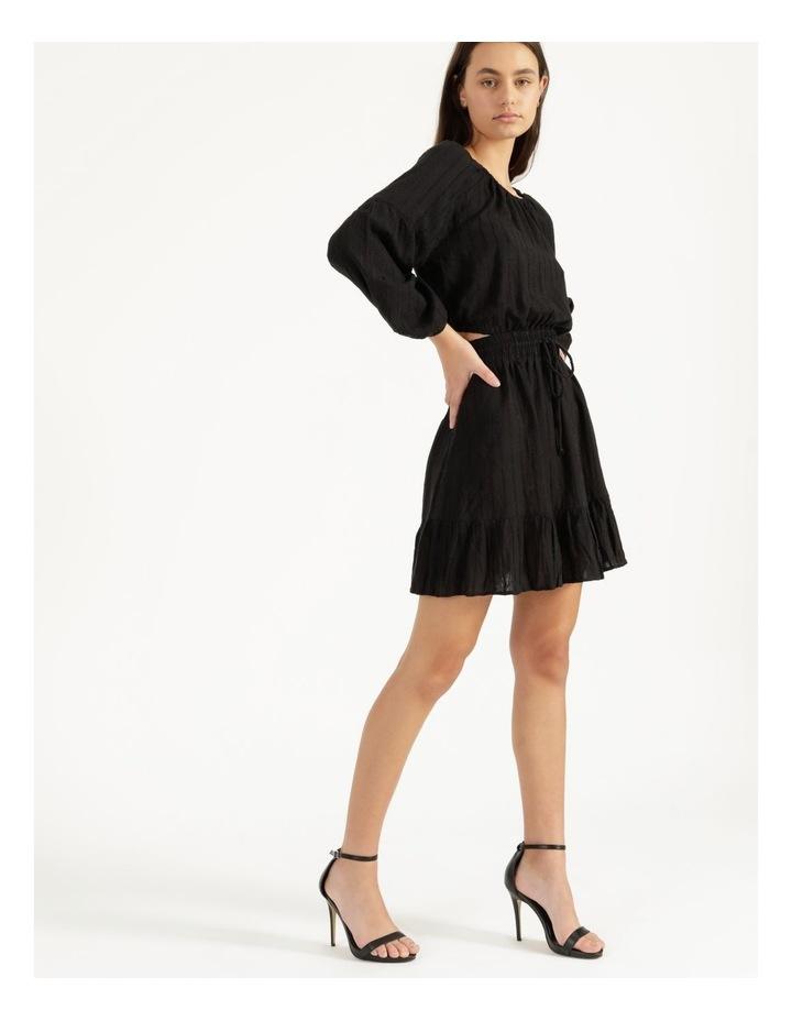 Self Stripe Ruffle Hem Dress Black image 3