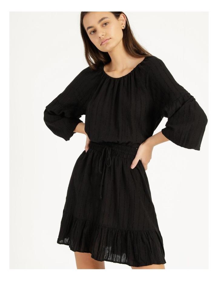 Self Stripe Ruffle Hem Dress Black image 4