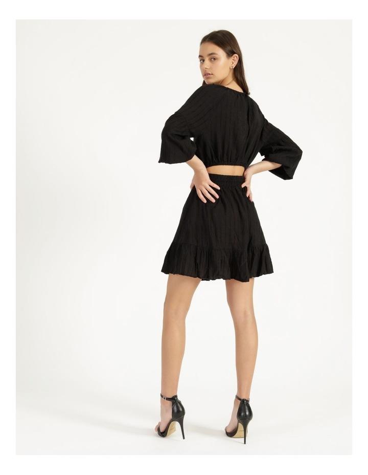 Self Stripe Ruffle Hem Dress Black image 5