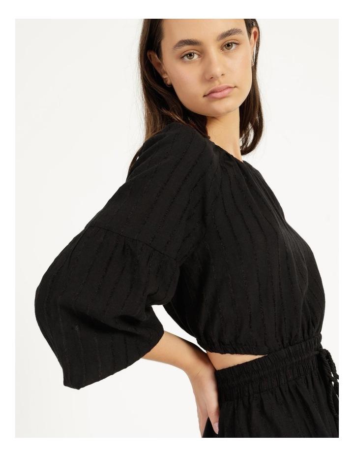 Self Stripe Ruffle Hem Dress Black image 6